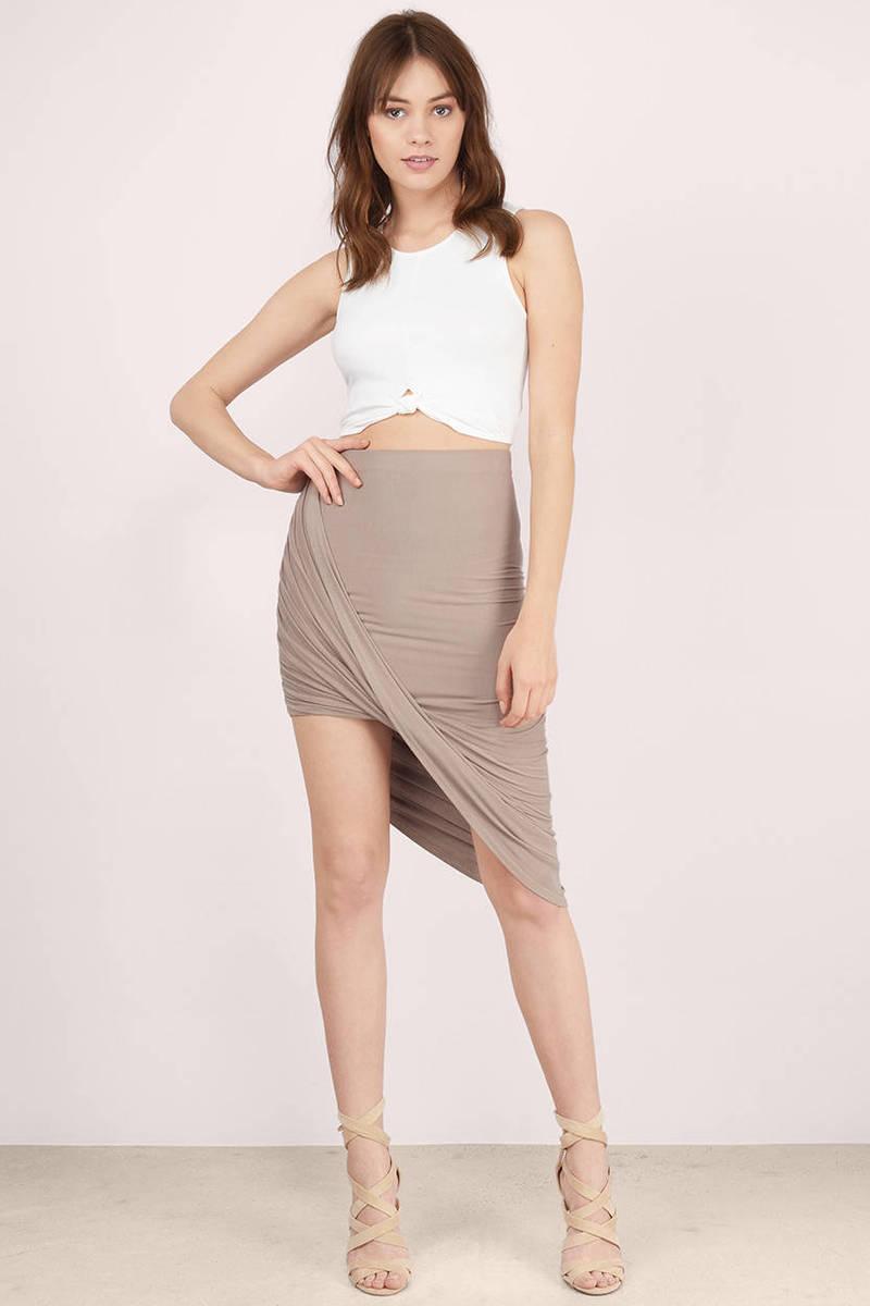 c7f0a89c0b65 Sexy Taupe Skirt - Wrap Skirt - Bodycon Skirt - Taupe Skirt -  10 ...