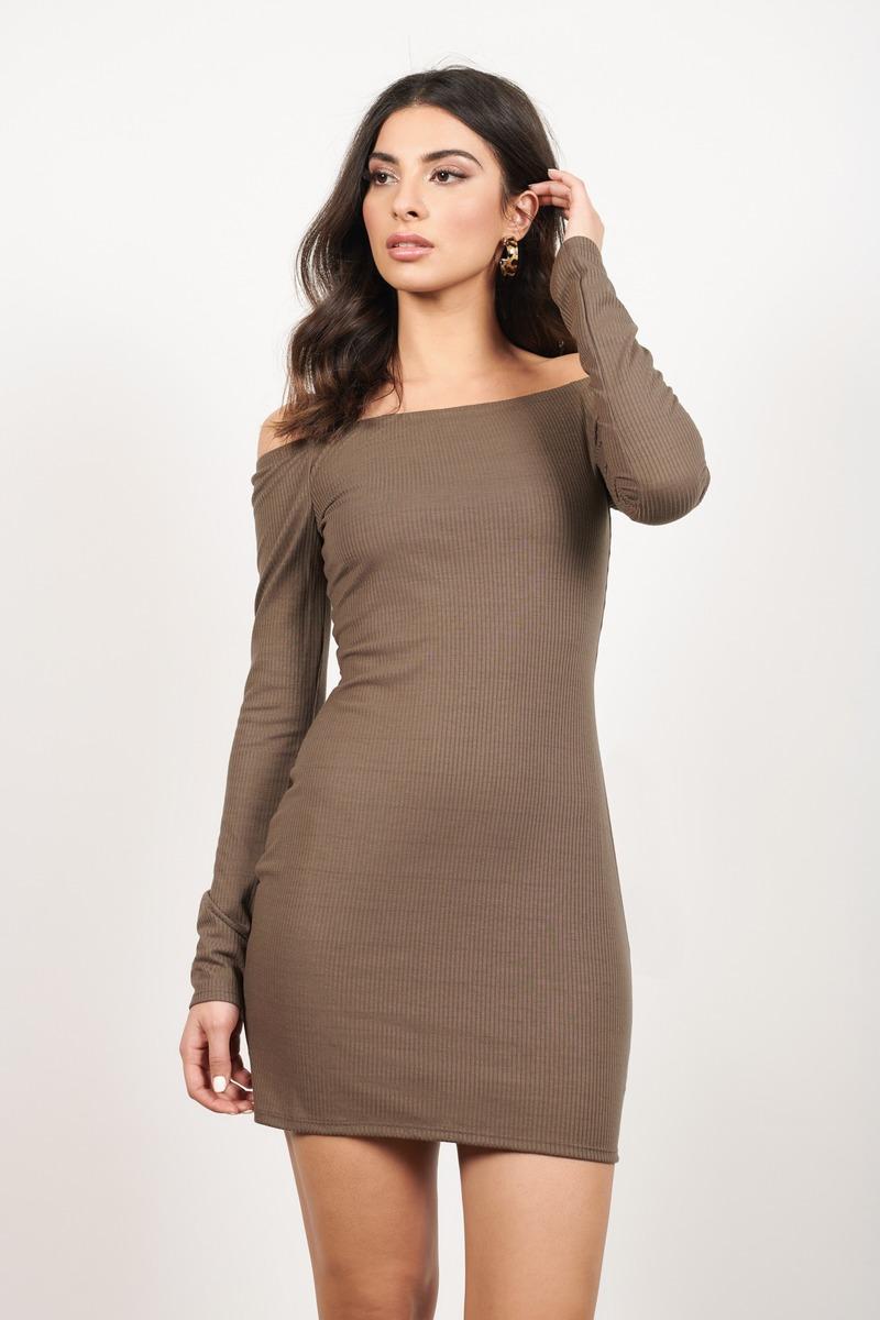 ee8719e2b3e Cute Taupe Bodycon Dress - Off Shoulder Dress - Bodycon Dress -  23 ...