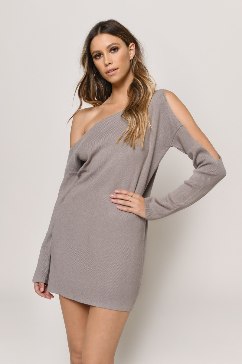 d534ab92fde Cute Wine Dress - Cold Shoulder Dress - Long Sleeve Dress -  31 ...