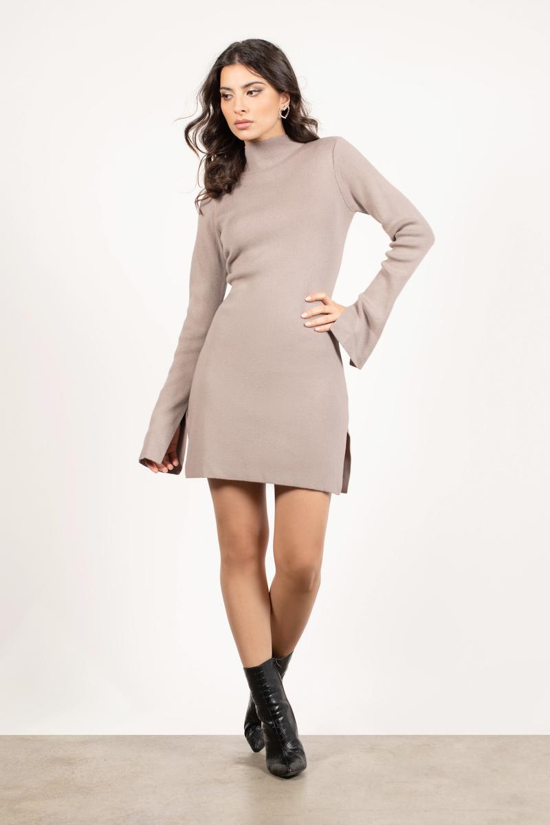 d2a5571f106 Beige Casual Dress - Mock Neck Dress - Beige Sweater Dress -  43 ...