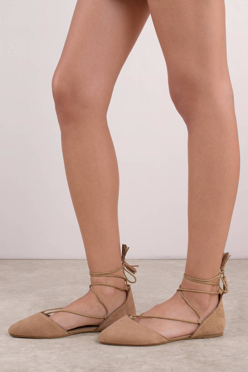 94cee6445520 Beige Flats - Ankle Lace Up Flats - Beige Round Toe Flats - € 22 ...