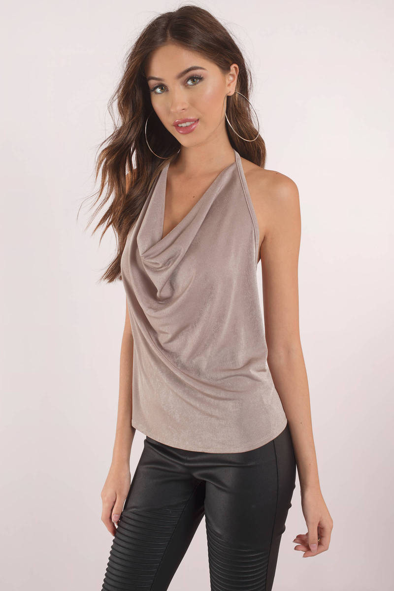 Out all night taupe cowl neck halter top tobi us