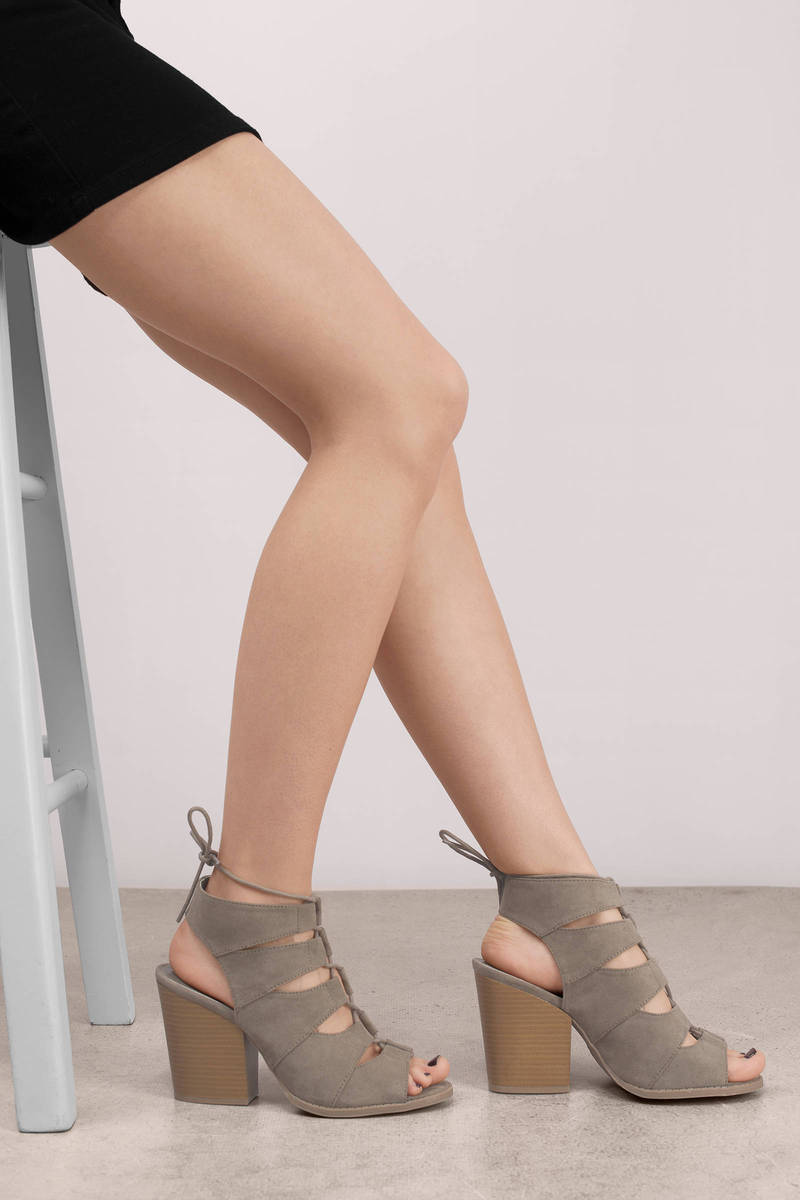 Paige Taupe Lace Up Heels