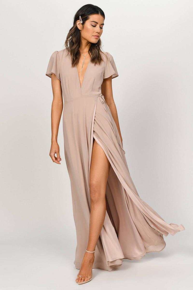 9660345f3337 Piper Taupe Plunging Maxi Dress - C$ 72 | Tobi CA