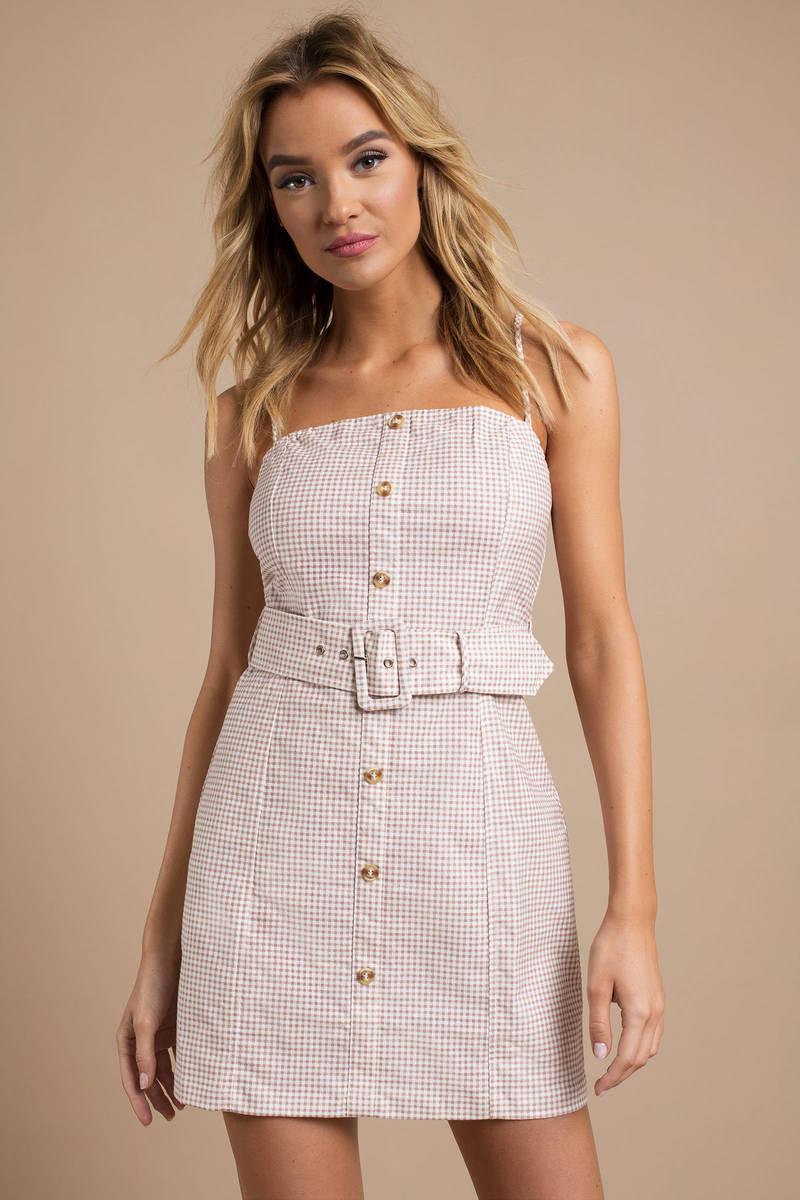 998e13f05348 Blush Pink Shift Dress - Button Up Gingham Dress - Blush Pink Mini ...