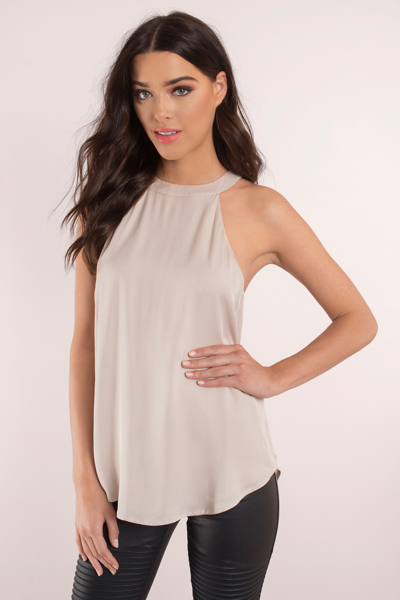 d76f08caba995 Cute Taupe Tank Top - Mock Neck Top - Beige Top - Taupe Tank -  9 ...