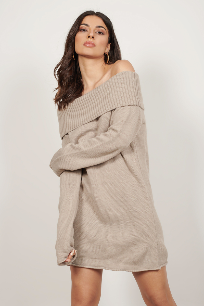 390f563265aa Cute Taupe Dress - Off Shoulder Dress - Long Sleeve Dress -  29 ...