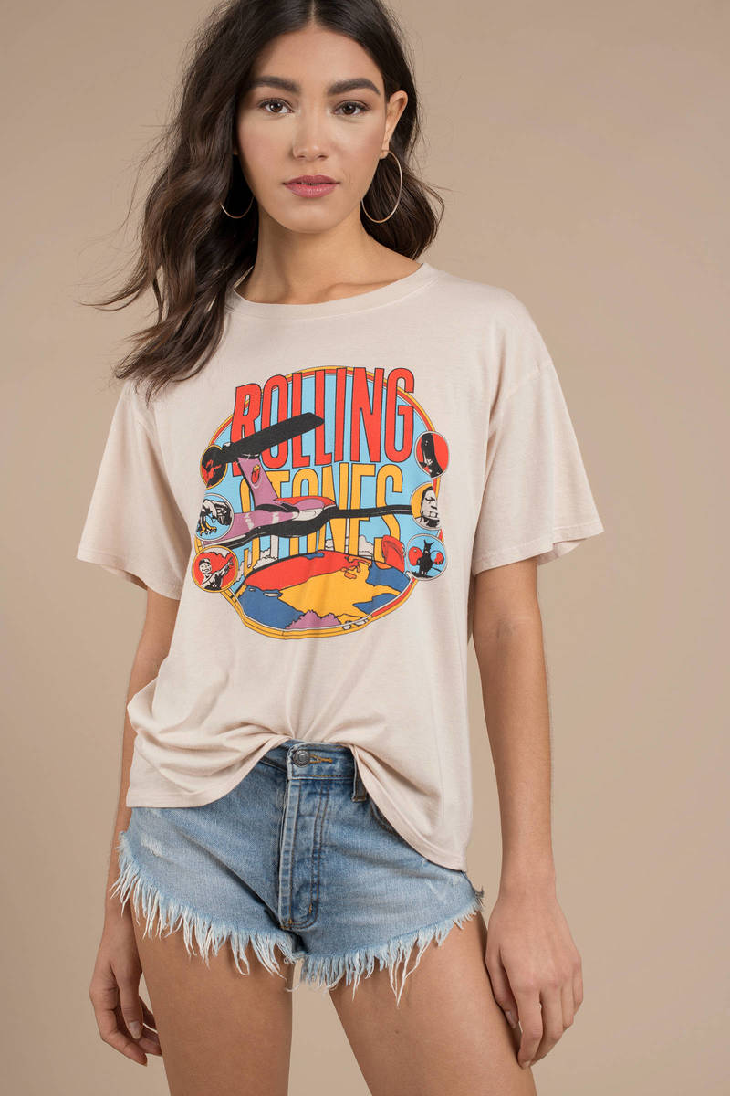 c2929c40 Daydreamer Los Angeles Daydreamer Rolling Stones Around The World Taupe Tee