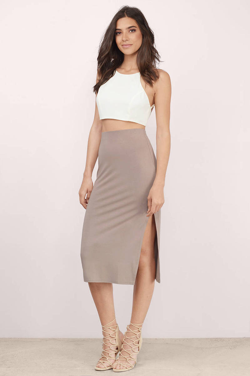 b70bbe2f50 Cute Taupe Skirt - Taupe Skirt - High Waisted Skirt - Taupe Midi ...