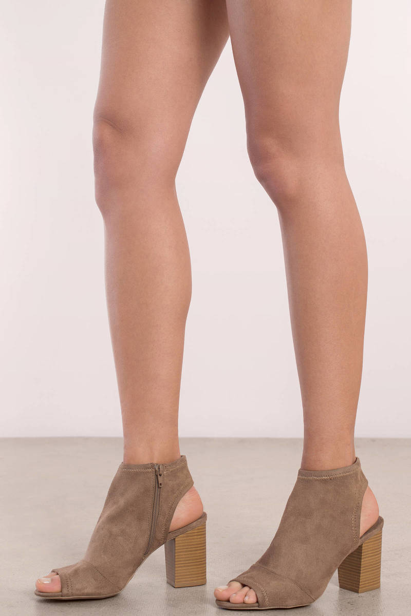 top-rated discount superior performance best Sally Faux Suede Peep Toe Booties