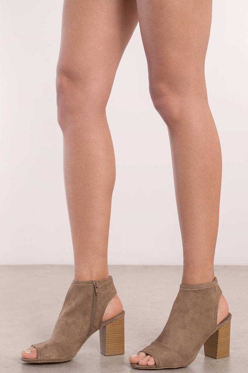 Sally Taupe Suede Peep Toe Booties
