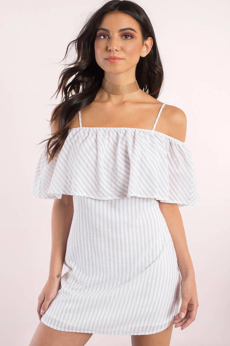 8841f821f51 Cute Taupe Shift Dress - Off Shoulder Dress - Shift Dress - £15 ...