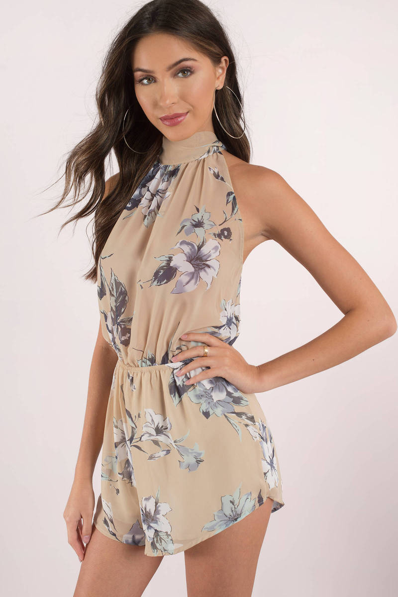 Sandy Beaches Taupe Floral Print Romper