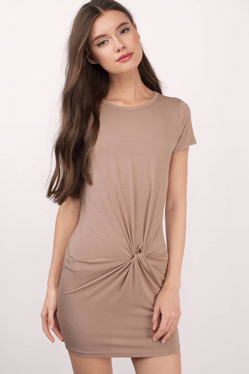 See What You Find Taupe Jersey Knitted Dress