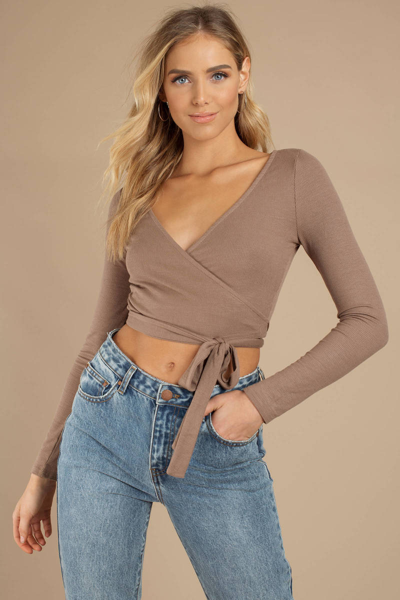 92a9e884f0 Taupe Crop Top - Long Sleeve V Neck - Taupe Front Tie Wrap Top - $18 ...