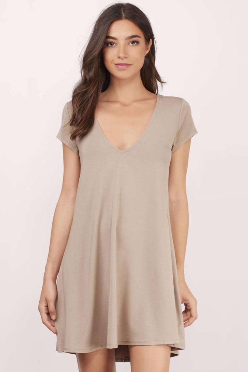 78114b0897b Taupe Shift Dress - Above The Knee Dress - Shift Dress -  14