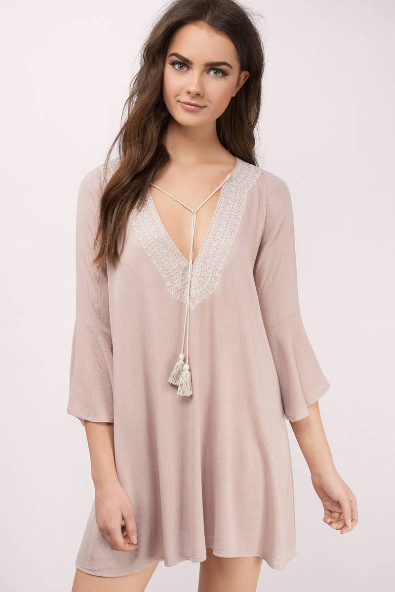 Simple Truth Taupe Embroidery Dress
