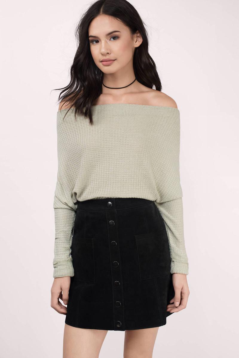 Grey Sweater Off Shoulder Top Waffle Knit Sweatshirt Grey Long