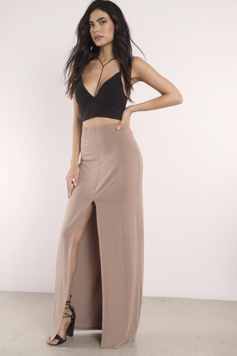 b0f002f06d7 Sexy Taupe Skirt - Front Slit Skirt - Maxi Skirt - Taupe Skirt -  10 ...