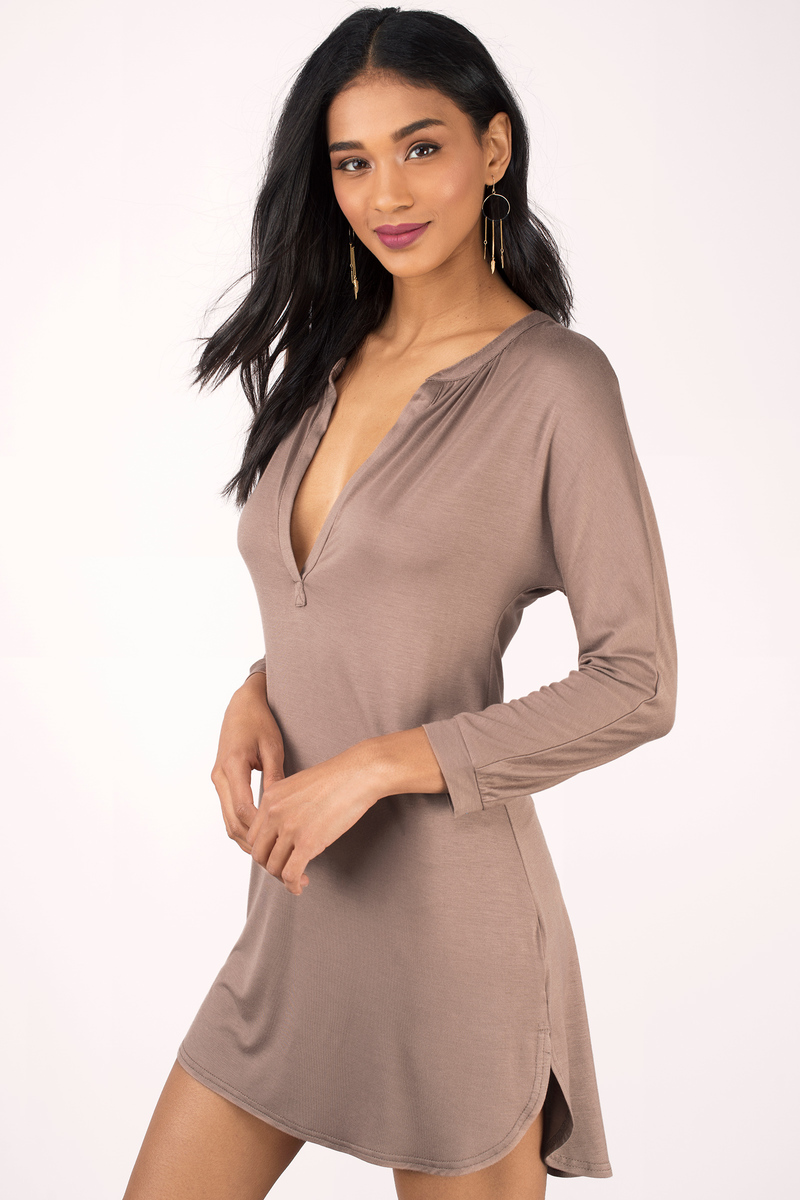 8077084dd8 Cute Taupe Day Dress - V Neck Dress - Brown Dress - Long Sleeve ...
