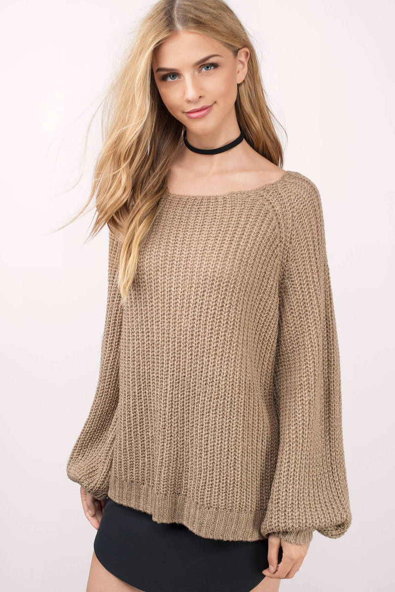 Taupe Sweater - Blouson Sweater - Knitted Sweater - Oversized ... d5be58672