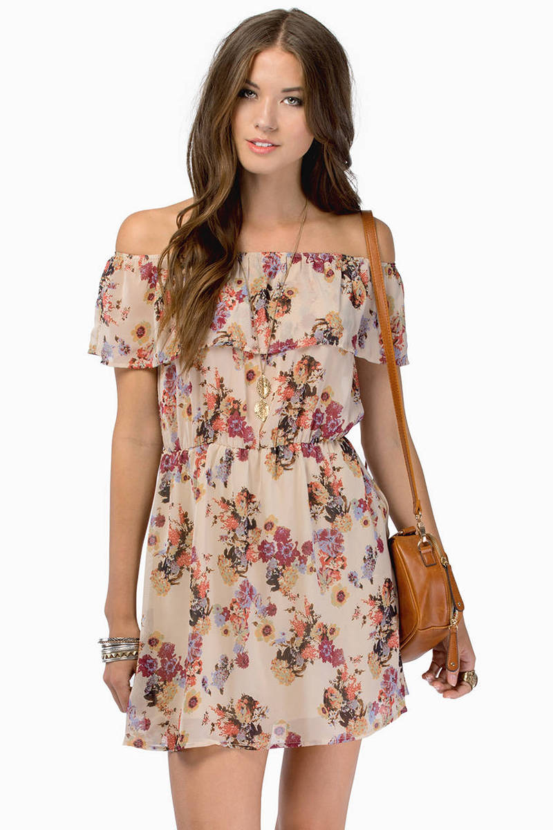 Tania Taupe Floral Print Day Dress