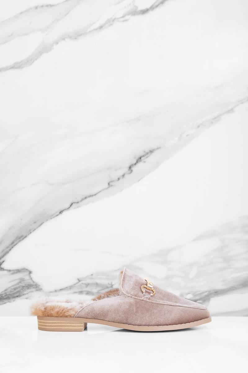 Natalie Taupe Velvet Velvet Fur Mules