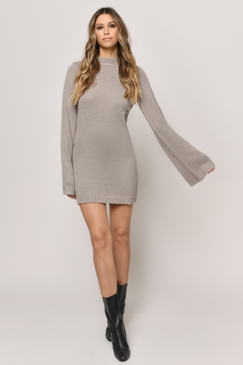 640c6d84d7 Cute Taupe Dress - Bell Sleeve Dress - Long Sleeve Dress -  35