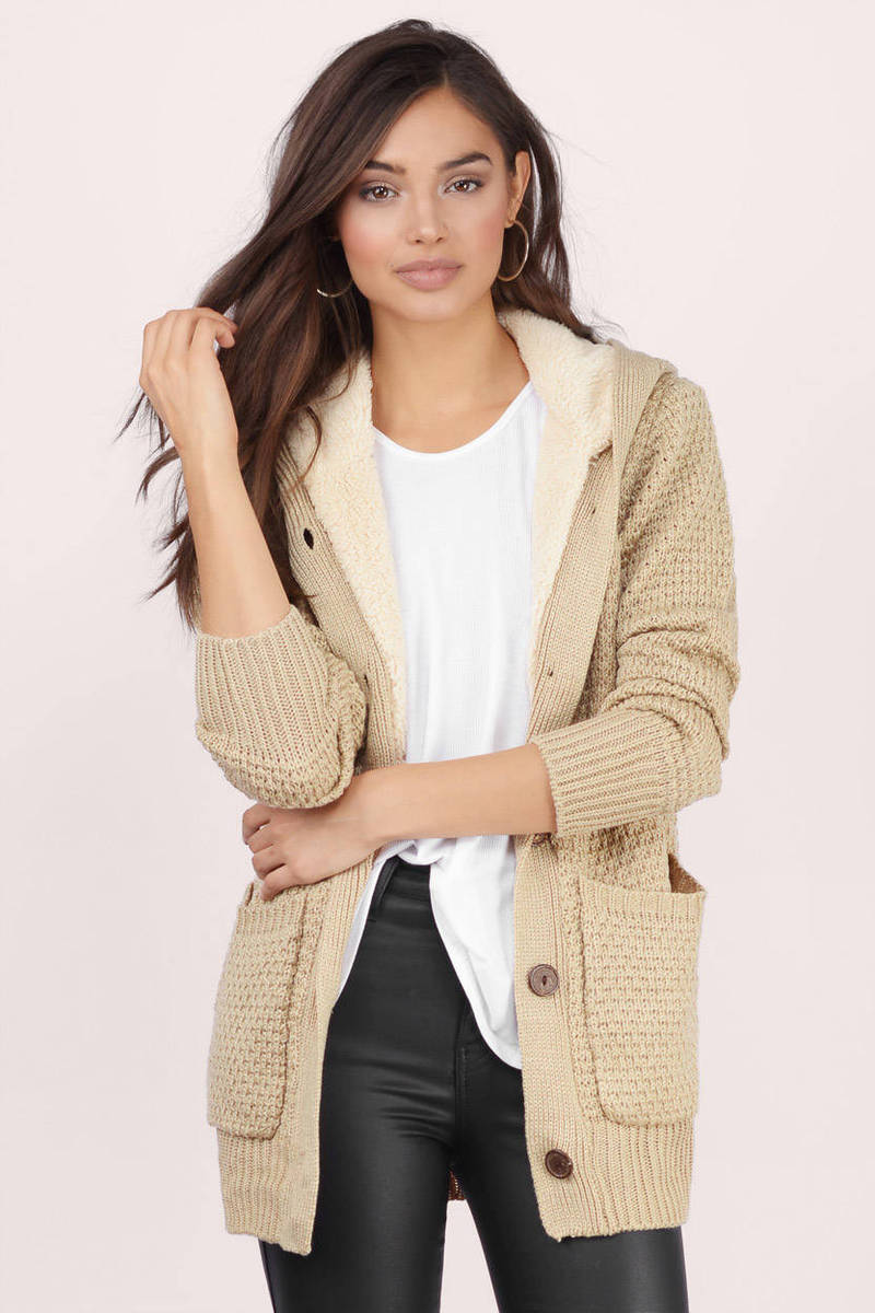 Taupe Cardigan - Hooded Cardigan - Button Up Cardigan - Sherpa ...