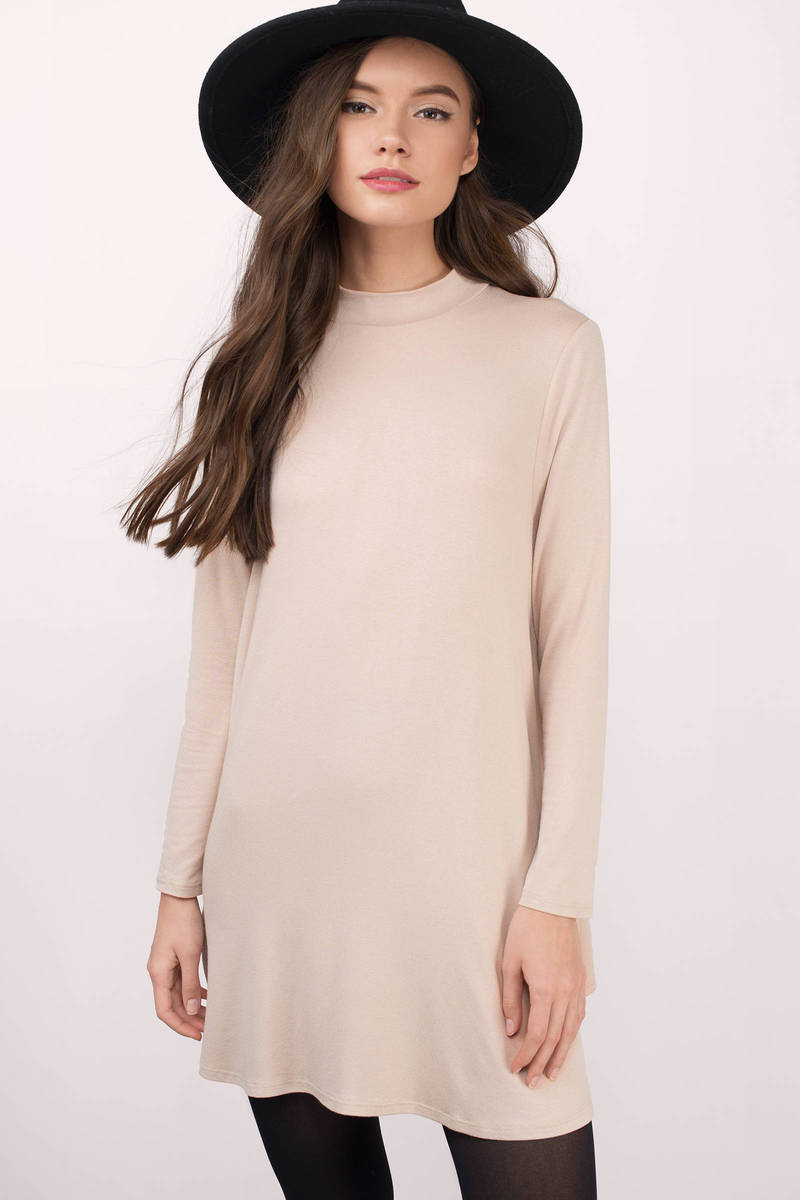 Where You Are Taupe Jersey Knitted Shift Dress