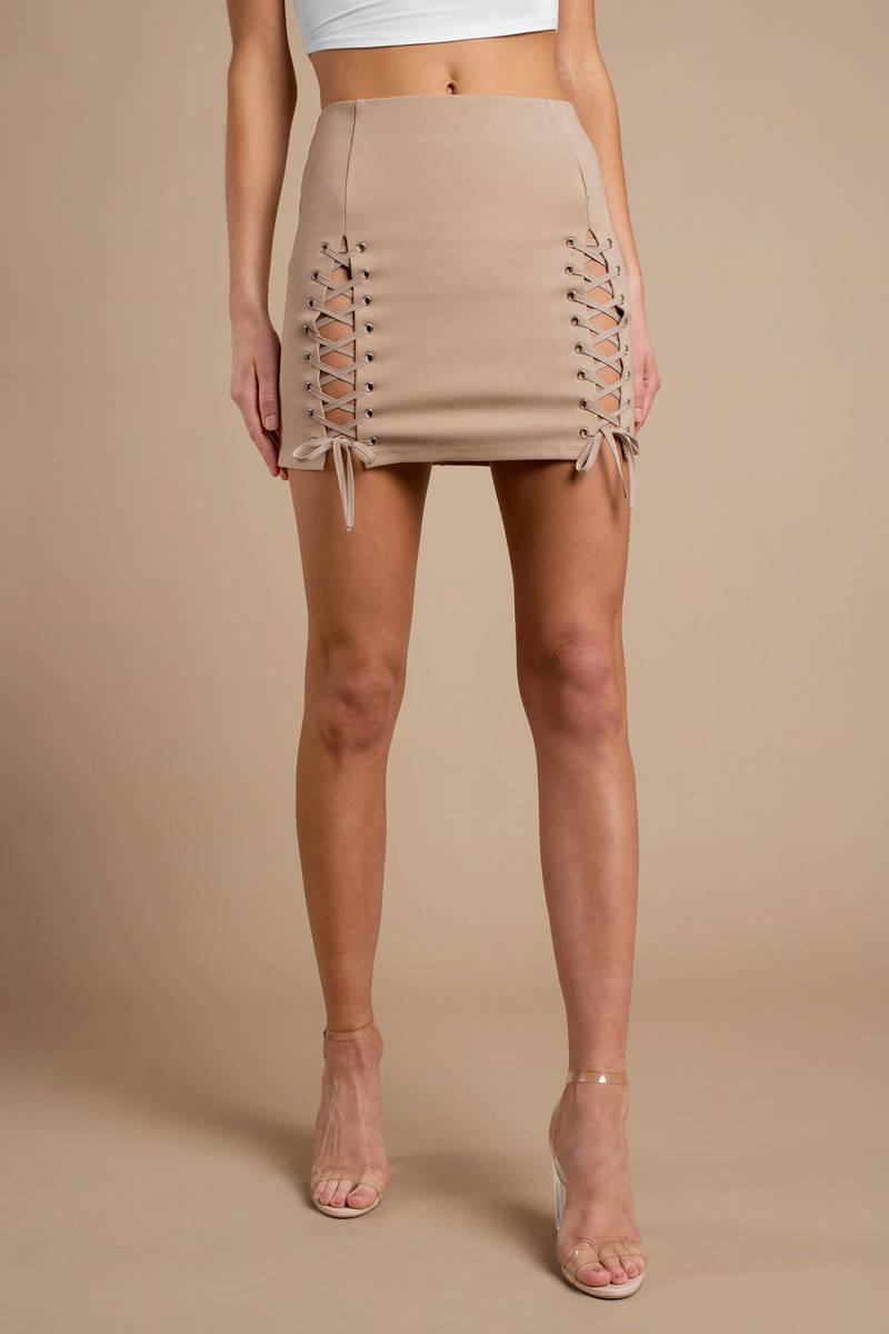 28a502a5beef5e Beige Skirt - Lace Up Skirt - Beige Mini Skirt - Pencil Skirt - $17 ...