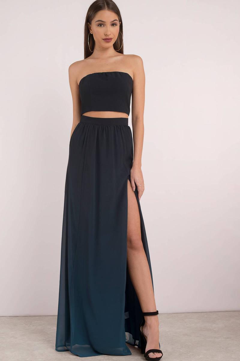 Blue Skirt High Slit Skirt Blue Ombre Maxi Skirt 42 Tobi Gb