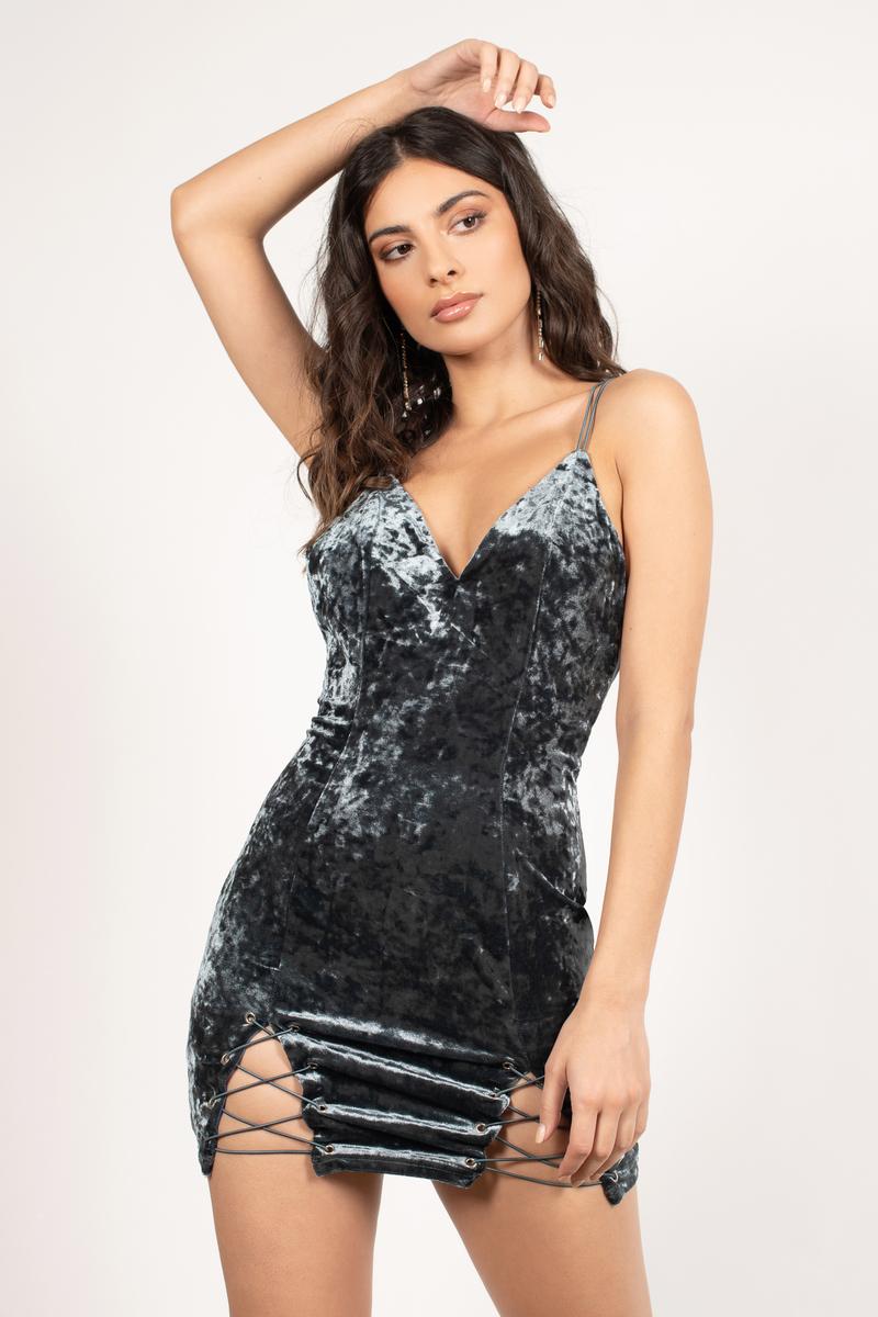 Sexy Blue - V Neck Dress - Open Back Dress - Velvet Dress -  44 ... 0bd852546