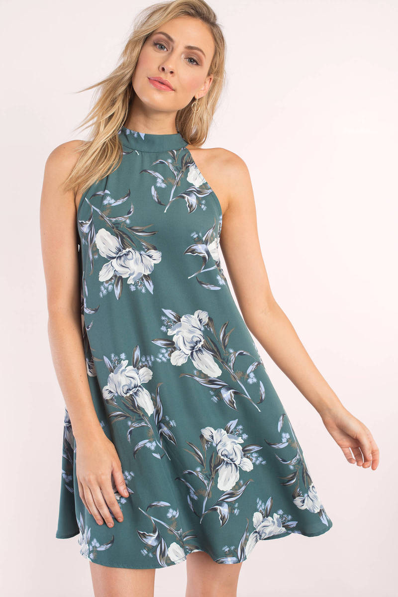 Paisley Teal Floral Print Shift Dress