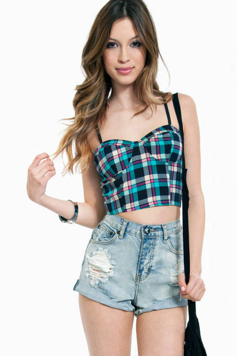 Plaid Teal Crop Top