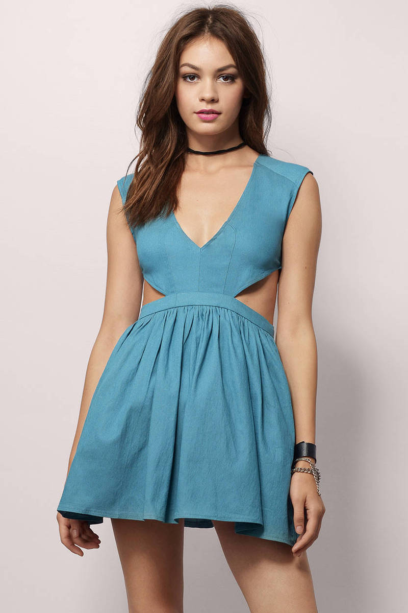 Teal Skater Dress - Blue Dress - Cut Out Dress - Blue Skater Dress ...
