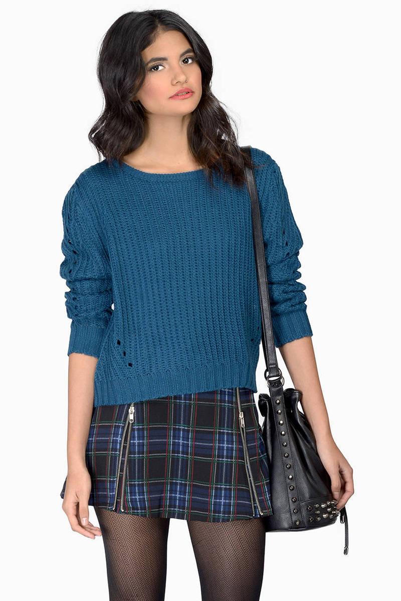 Wordplay Teal  Knitted Sweater