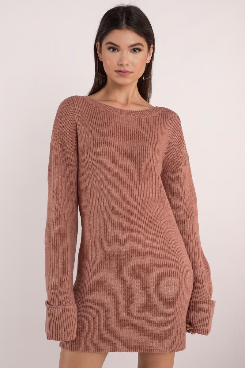82fdfa153df Cute Terracotta Dress - Long Sleeve Dress - Cuffed Sleeve Dress ...