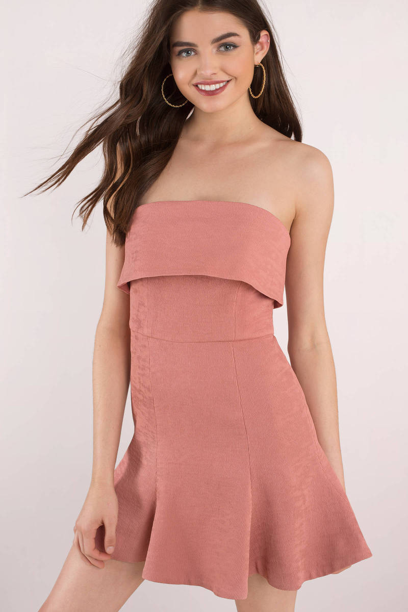 Pink Skater Dress - Ribbed Skater Dress - Coral Strapless Dress ...