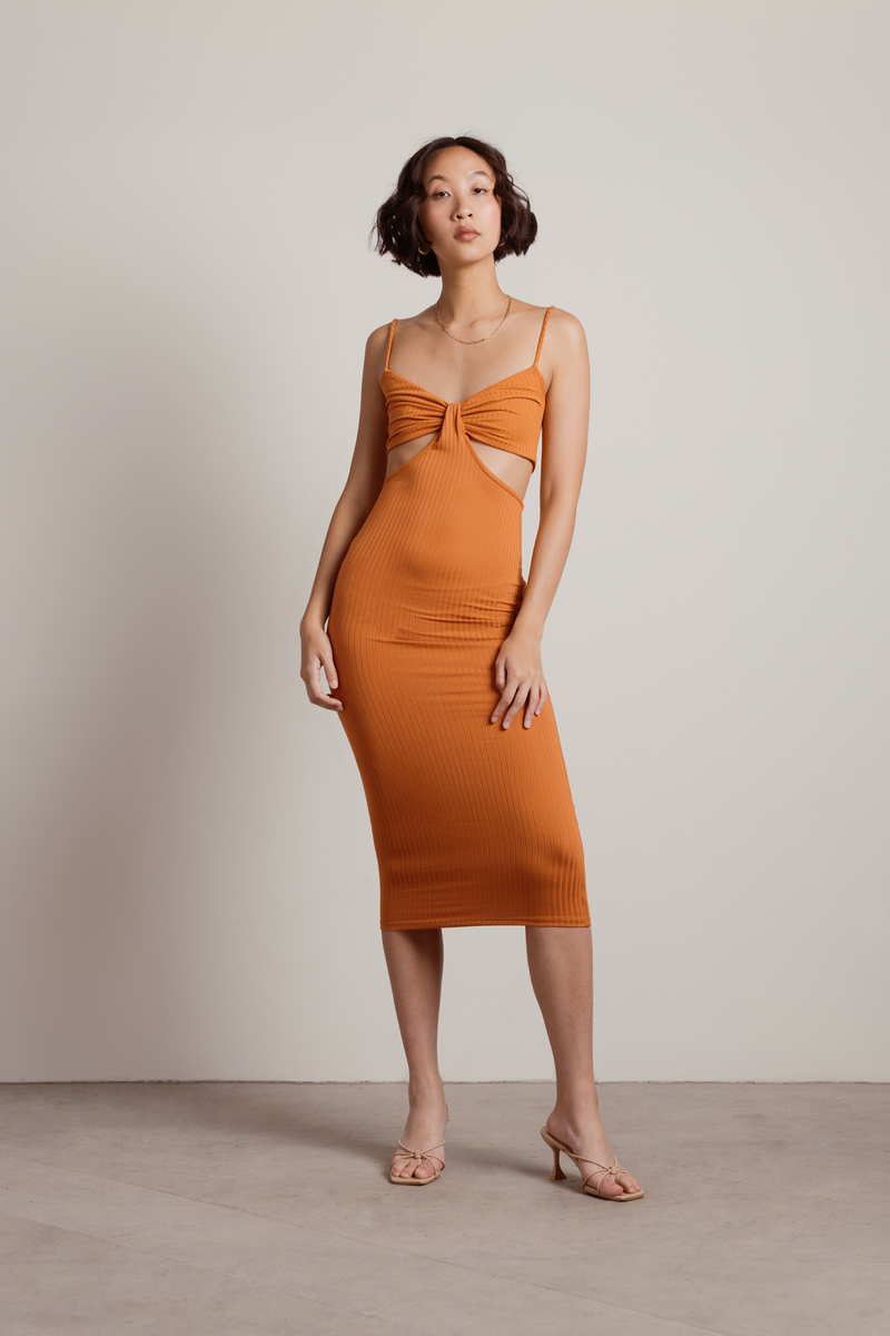 Oh I See Ribbed Cutout Bodycon Midi Dress in Terracotta