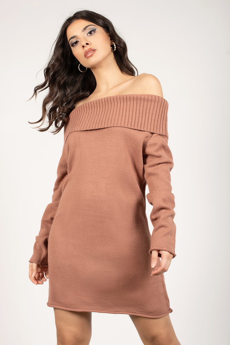 Cute Terracotta Dress - Off Shoulder Dress - Long Sleeve Dress ...