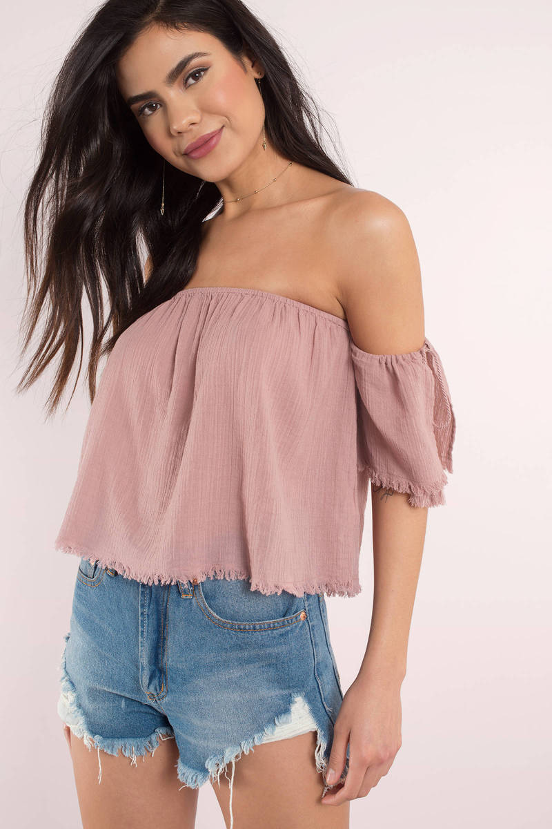 30997af943b Orange Going Out Top - Off Shoulder Top - Frayed Top - $10 | Tobi US