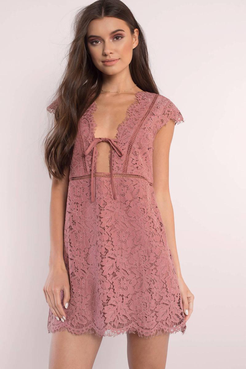 fc8e0552883b Terracotta Dress - Orange Dress - Terracotta Lace Overlay Dress ...