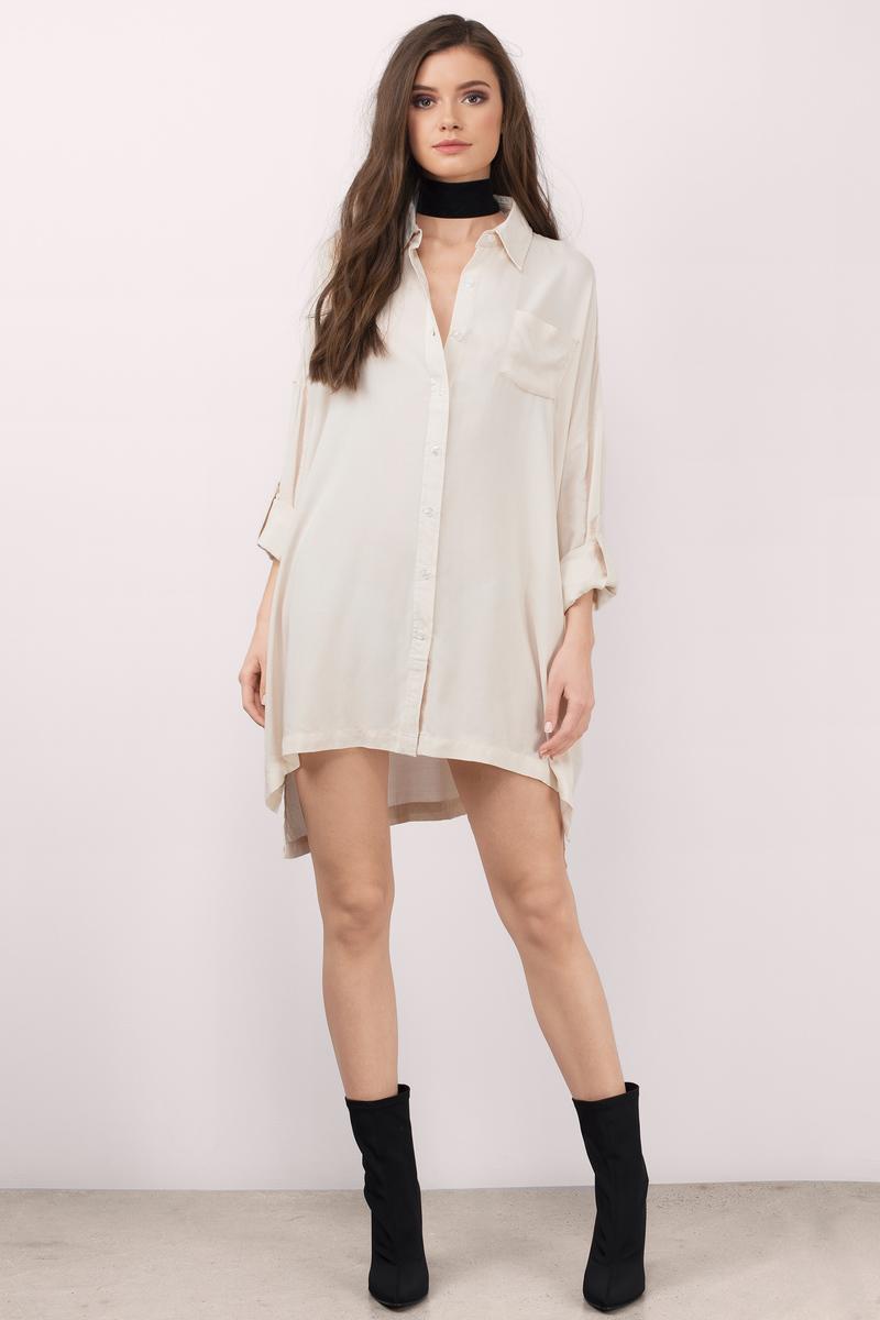 Brisbane Toast Cotton Shirt Dress