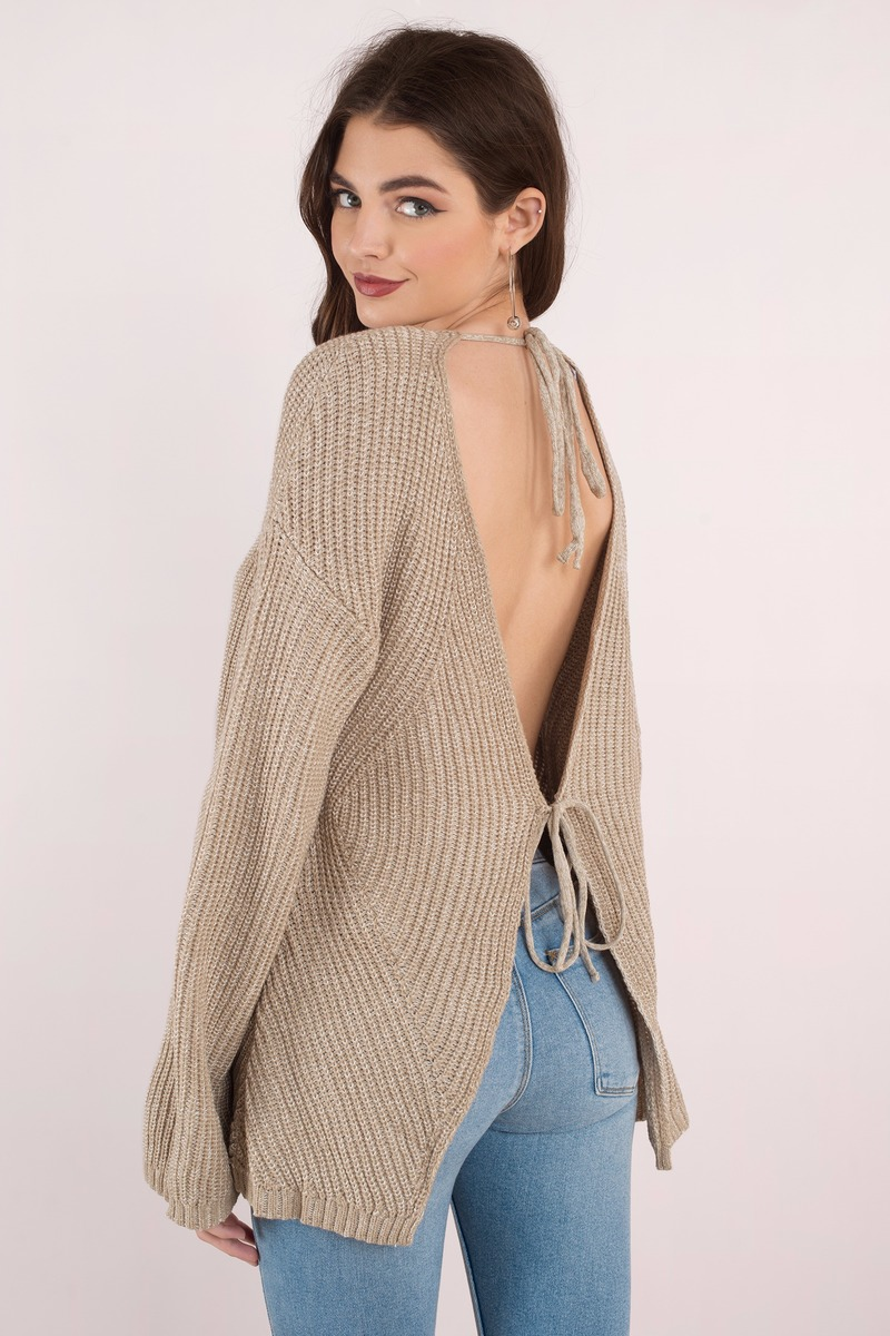 1c1ef4ac095719 Cute Beige Sweater - V Back Sweater - Beige Open Back Sweater - € 17 ...