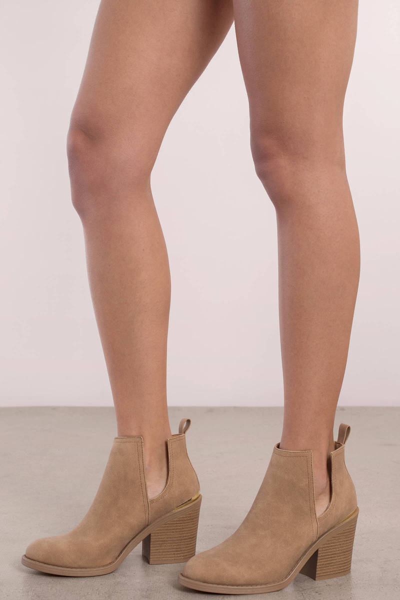 Holly Toast Side Slit Ankle Booties