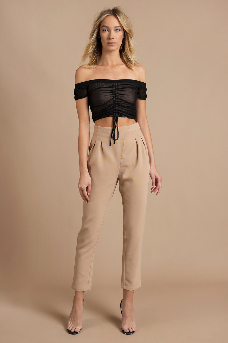 78024afac Trendy Toast Pants - Straight Pants - High Waisted Pants - Pleated ...