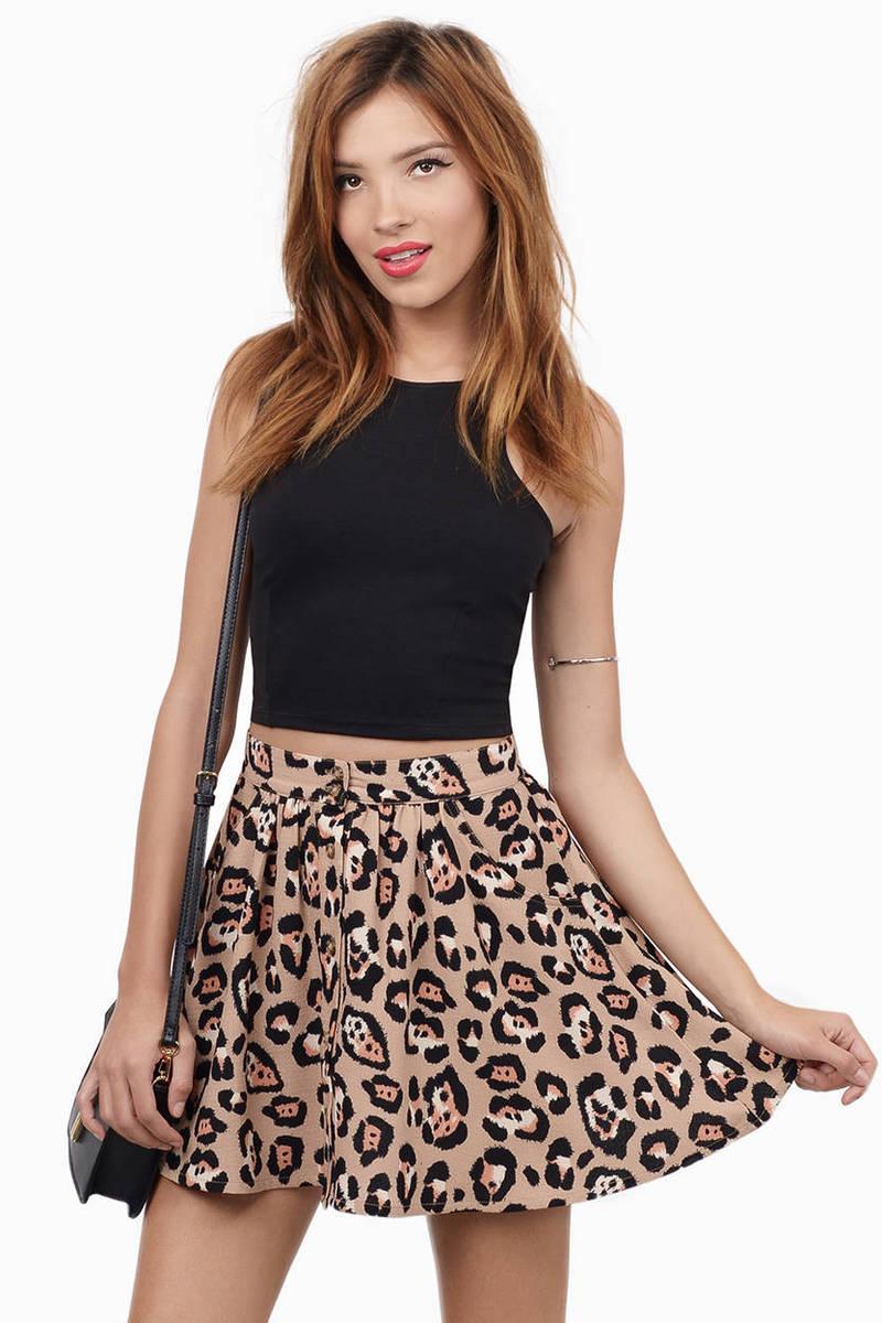 When The Cat's Away Navy Multi Leopard Print Skater Skirt