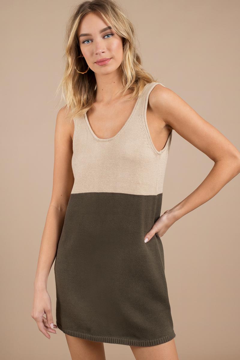d86567db0c Toast   Olive Day Dress - Low Back Dress - Beige Dress - Day Dress ...