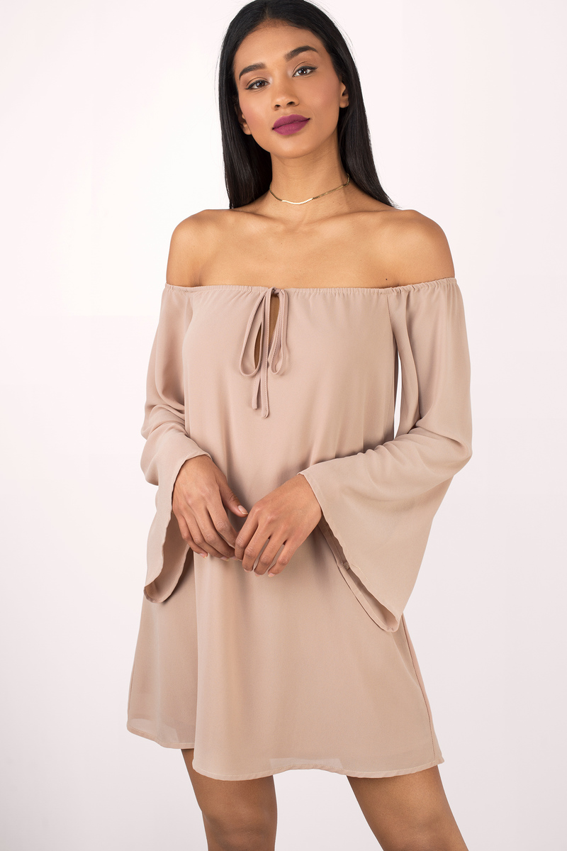 d68d5abfe909 Cute Toast Shift Dress - Off Shoulder Dress - Shift Dress -  22 ...